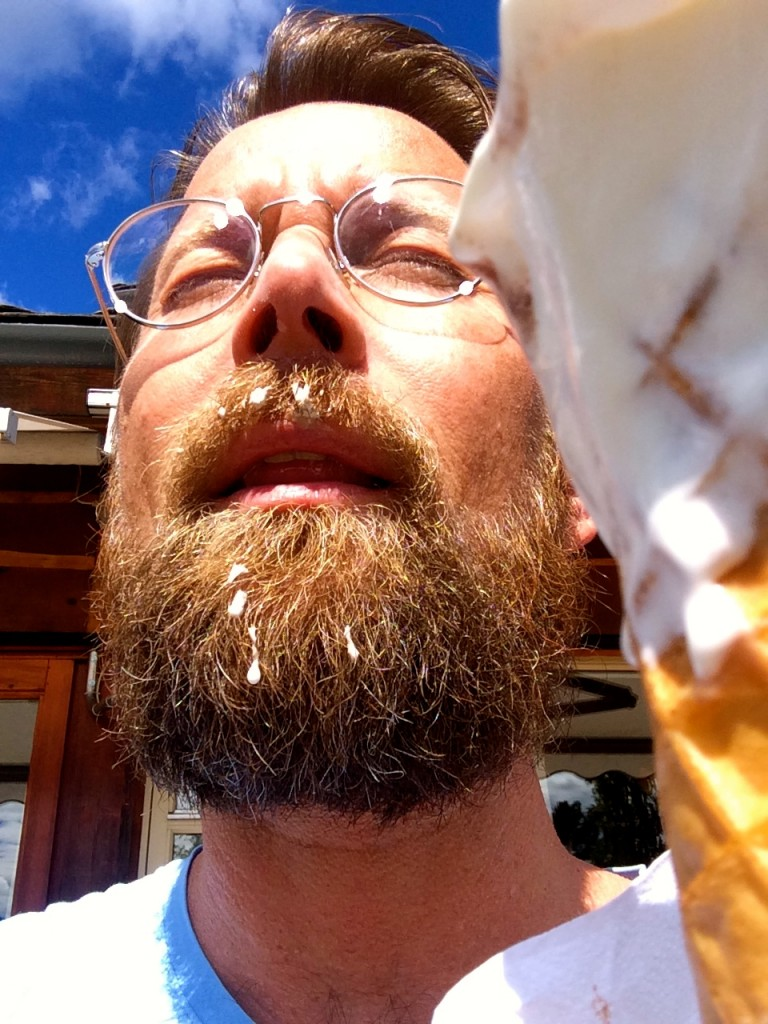 Beachwalker eats softies with his beard