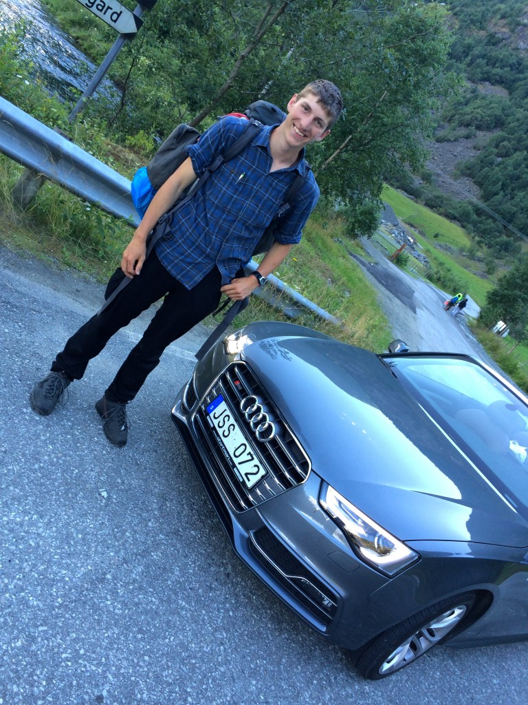 "The German ""goss"" hitchhikes in the Audi S5 cabriolet and smiles"
