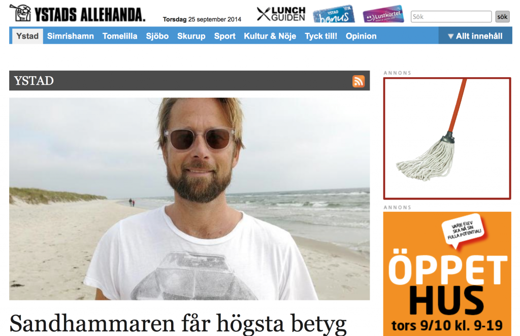 A journalist from the local newspaper is very happy that I am very happy about her beach...